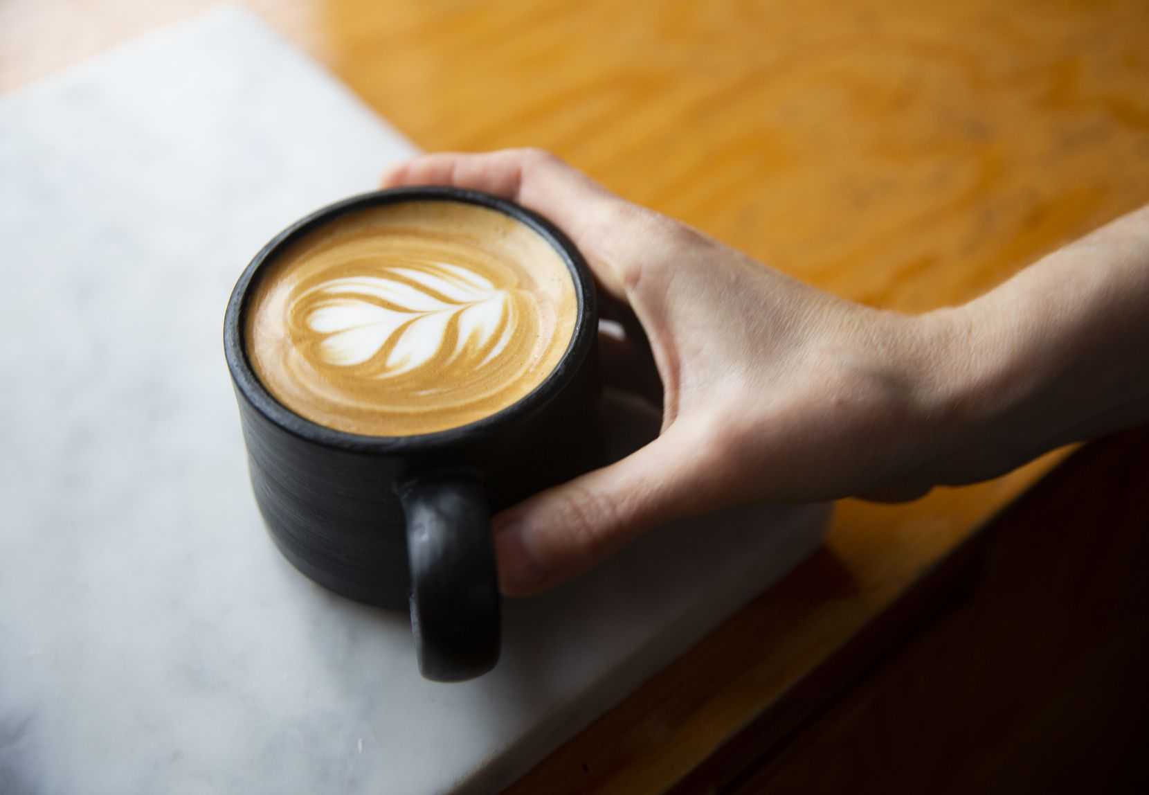 A latte at Coffee Folk Cafe truck on Jan. 10, 2020 in Fort Worth. (Juan Figueroa/ The Dallas Morning News)