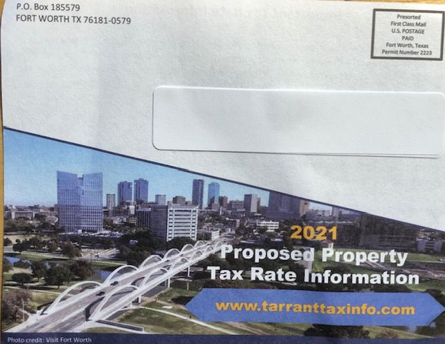 Front of postcard sent to Tarrant County property owners in August 2021. Notice it doesn't show a government in the return address.