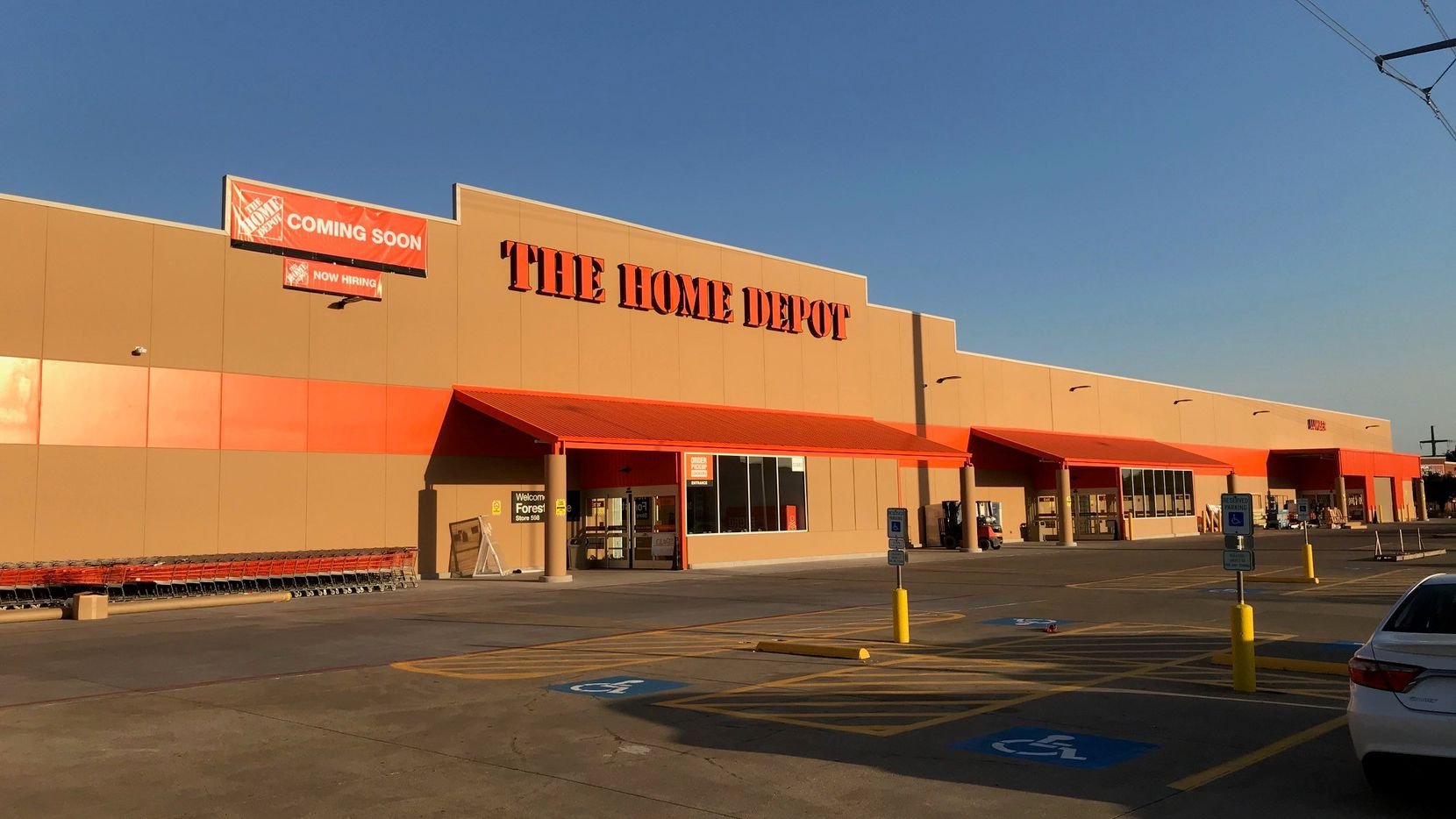 A rebuilt Home Depot store on Forest Lane just east of North Central Expressway in Dallas. It was damaged during the Oct. 20, 2019, tornadoes and reopened last fall.