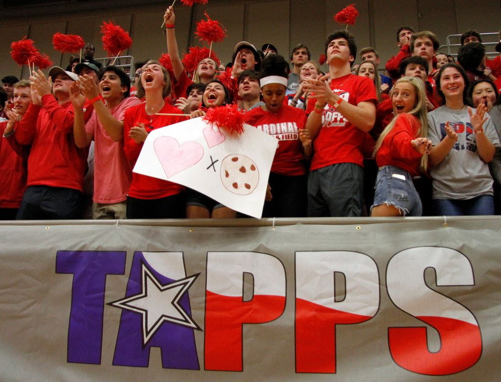A large contingency of Plano John Paul ll fans voice their support during team introductions prior to the opening tip against San Antonio Antonian Prep. The two teams played in the TAPPS Class 6A boys basketball state championship game at West High School on February 29, 2020. (Steve Hamm/Special Contributor).