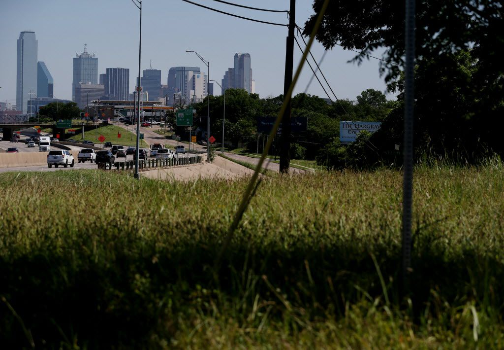The view of downtown near the corner of  E. 11th Street and Fleming Avenue on the east side of Interstate 35 in the Tenth Street Historic District in Dallas Tuesday June 22, 2016. (Andy Jacobsohn/The Dallas Morning News)