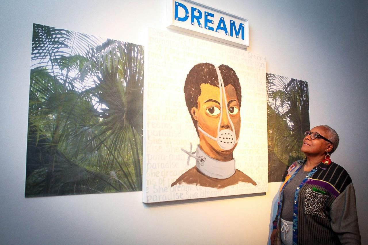 """Vicki Meek, who retired from her """"day job"""" of managing the South Dallas Cultural Center in 2016, has an art exhibition on display in Houston."""