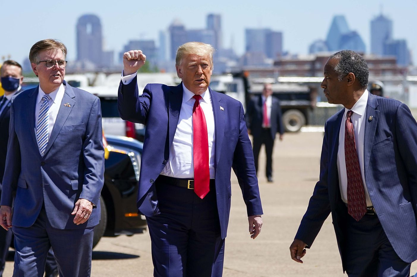 President Donald Trump arrives at Dallas Love Field on Thursday, June 11, 2020, in Dallas. (Smiley N. Pool/The Dallas Morning News)