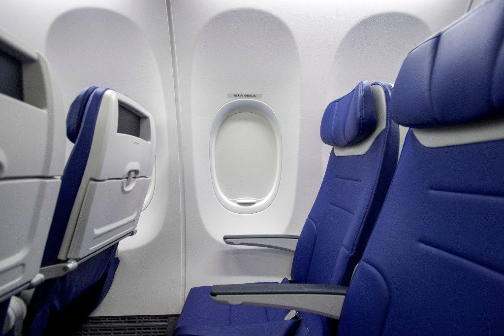 The cabin area of one of Southwest Airline's new Boeing 737 MAX jetliners is pictured at Love Field in Dallas on Friday, September 23, 2016.  Southwest will be the first customer to fly the new airplanes. (Jeffrey McWhorter/Special Contributor)