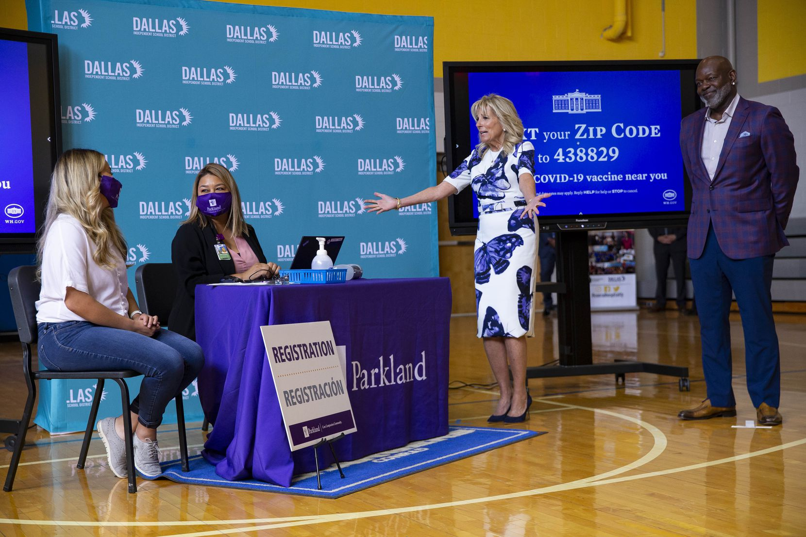 Jill Biden durante una visita a la Emmett J. Conrad High School el martes 29 de junio de 2021 en Dallas.