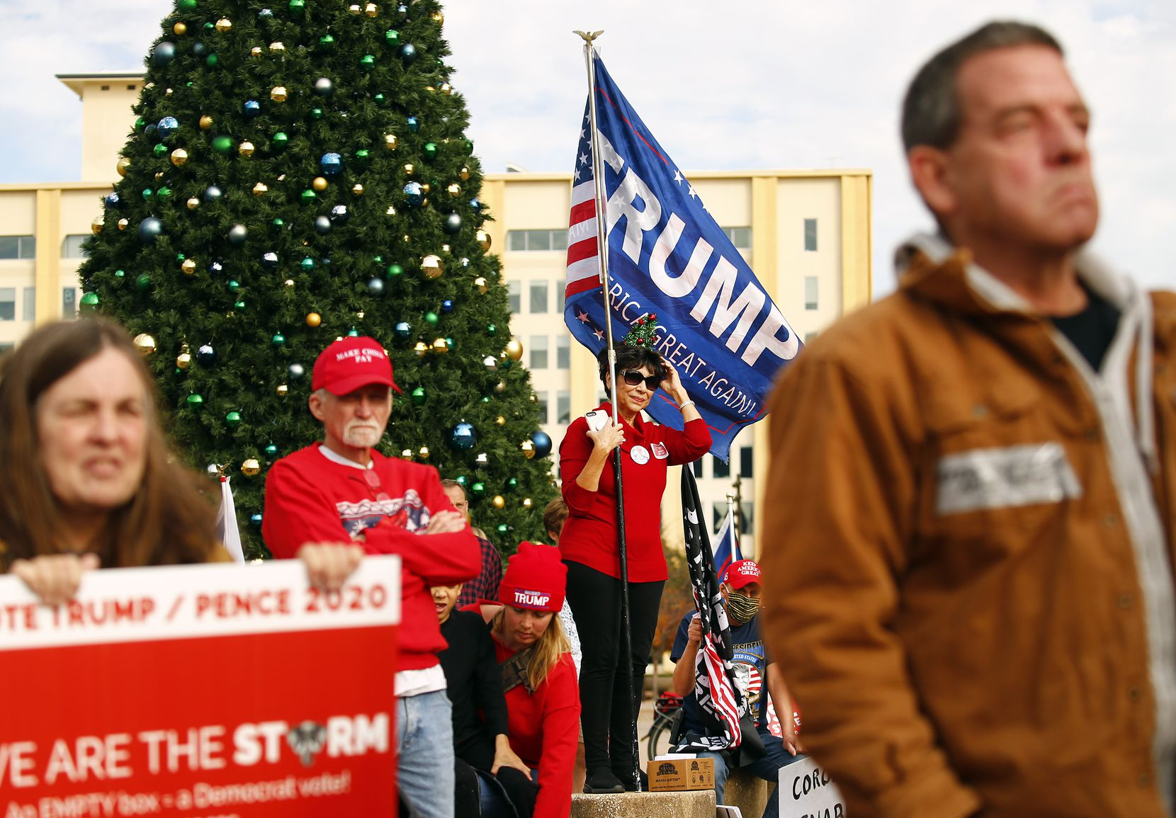 Demonstrators at the Texas GOP's rally at Dallas City Hall on Saturday brought concerns about a wide array of issues Saturday, perhaps chief among them the outcome of the Nov. 3 presidential election.