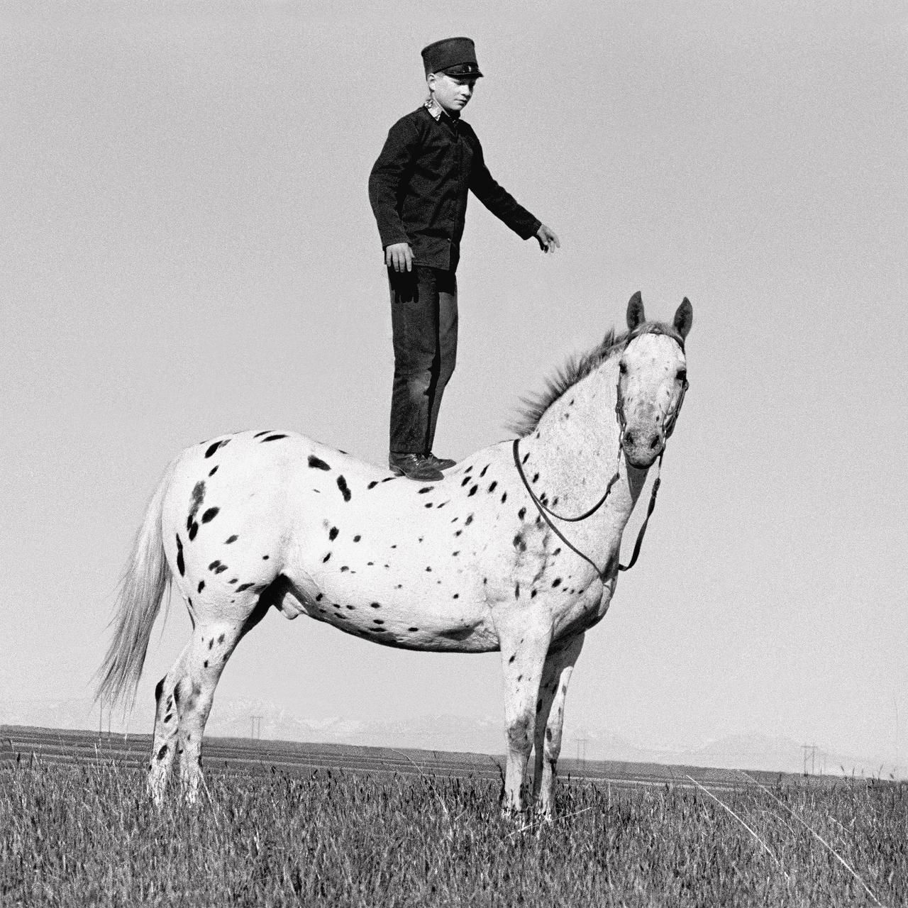 Wilson  took the photo  Hutterite Boy on Appaloosa  in the Golden Valley Colony of Ryegate, Mont.