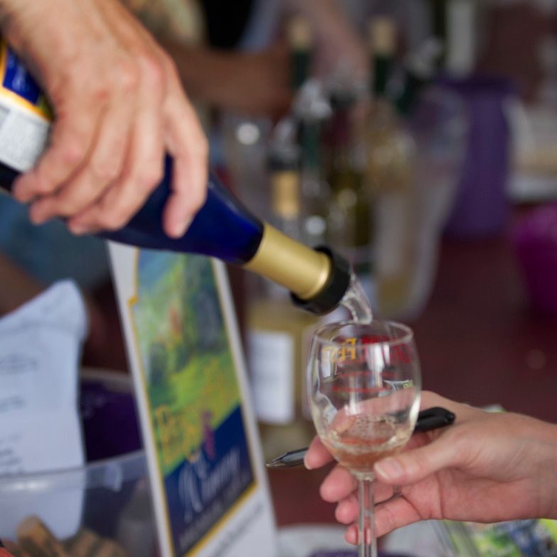 Wine is poured during GrapeFest.