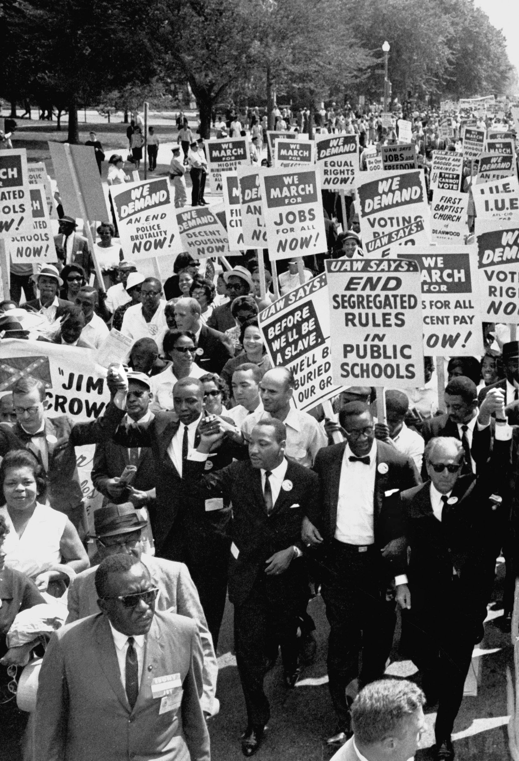 Dr. Martin Luther King Jr. (center front) led a sea of protesters during the March on Washington on Aug. 28, 1963.