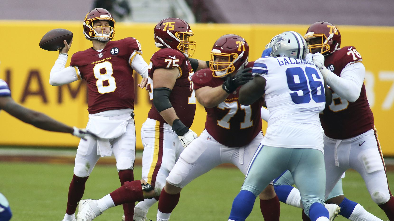 Washington Football Team quarterback Kyle Allen (8) throws a touchdown during an NFL football game against the Dallas Cowboys, Sunday, Oct. 25, 2020 in Landover, Md.