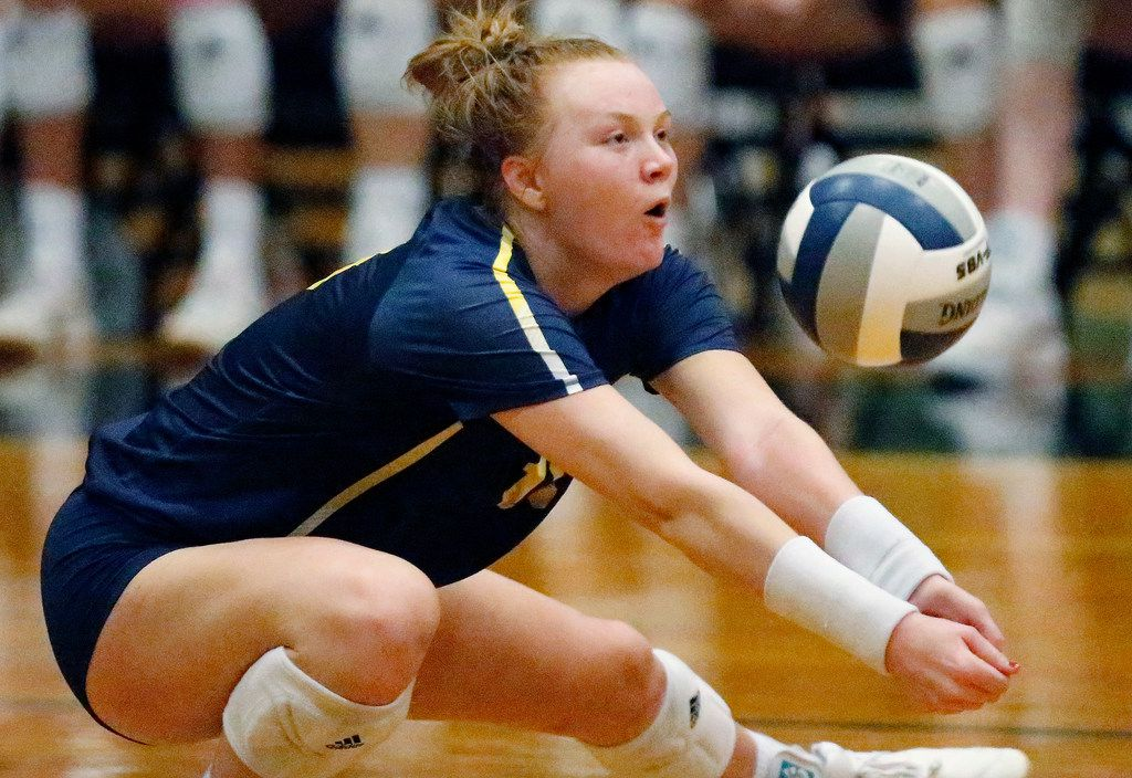 Highland Park High School outside hitter Kendyl Reaugh (18) gets dig in game two as Lovejoy High School hosted Highland Park High School in the Class 5A Region II championship match held at Berkner High School in Richardson on Saturday, November 16, 2019. (Stewart F. House/Special Contributor)
