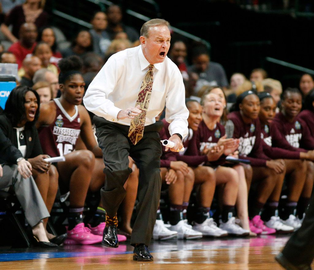 Mississippi State Lady Bulldogs head coach Vic Schaefer yells to his players during the first half against the Connecticut Huskies in their NCAA Women's Final Four semifinal game at the American Airlines Center in Dallas, Friday, March 31, 2017. (Tom Fox/The Dallas Morning News)