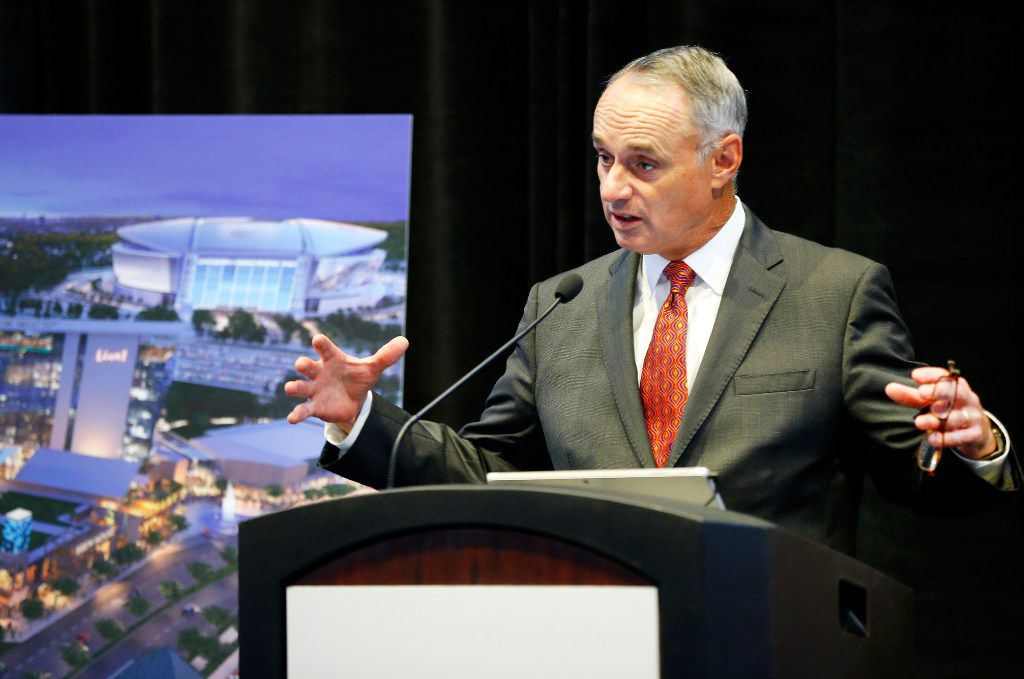 Major League Baseball Commissioner Rob Manfred speaks about the planned Texas Live! entertainment complex during a press conference at the Globe Life Park in Arlington, Tuesday, September 19, 2016.