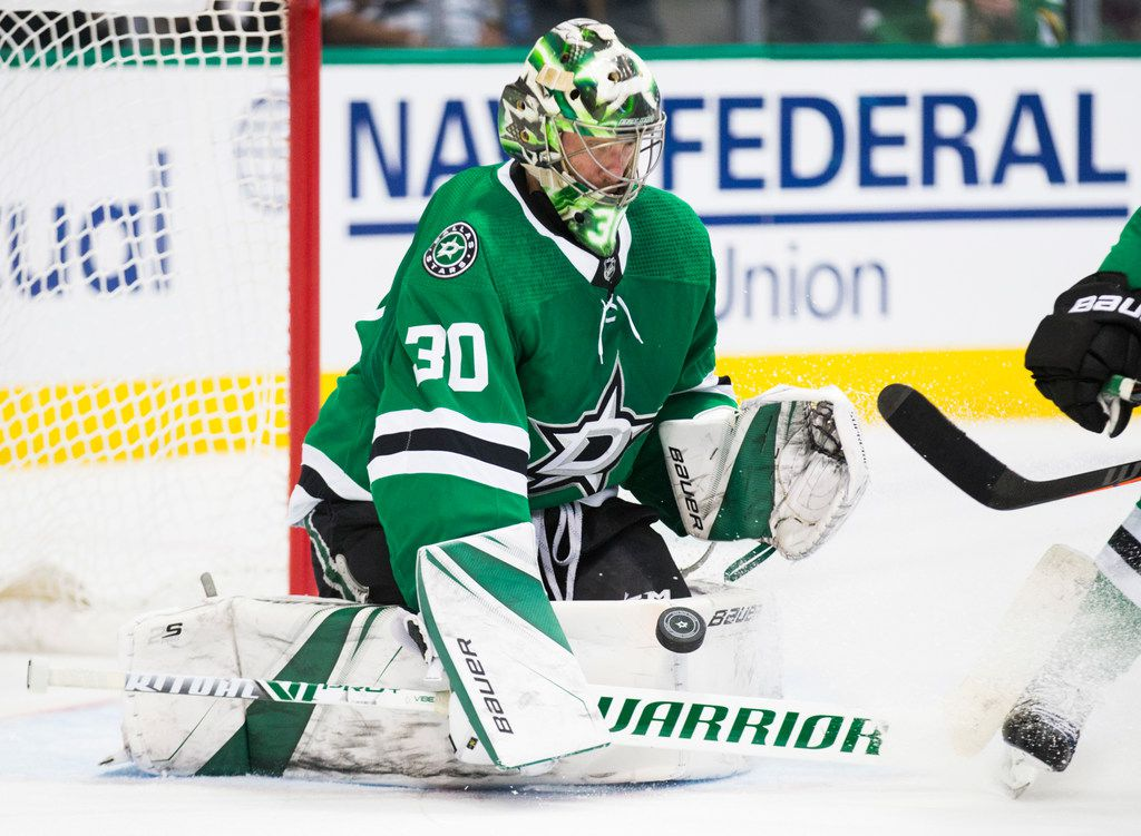 Dallas Stars goalie Ben Bishop; blocks a shot during the second period of Game 3 of Round 2 of NHL playoffs between the Dallas Stars and the St. Louis Blues on Monday, April 29, 2019 at American Airlines Center in Dallas. (Ashley Landis/The Dallas Morning News)