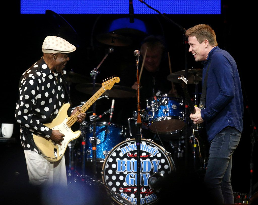 Buddy Guy (left) and Jonny Lang trade licks while they perform at the Crossroads Guitar Festival on Saturday, Sept. 22, 2019 at the American Airlines Center in downtown Dallas.