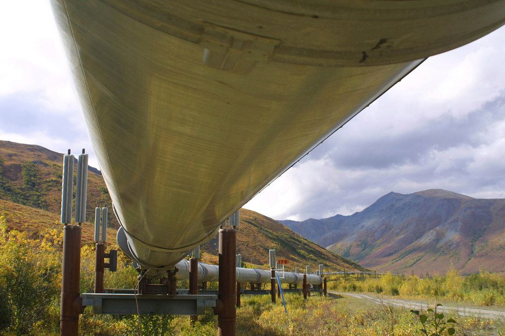FILE - In this undated file photo showing the 800-mile Trans-Alaska pipeline snakes it way across the tundra north of Fairbanks, Alaska. BP, a major player on Alaska's North Slope for decades, is selling all of its assets in the state, the company announced Tuesday, Aug. 27, 2019. Hilcorp Alaska is purchasing BP interests in both the Prudhoe Bay oil field and the trans-Alaska pipeline for $5.6 billion, BP said.