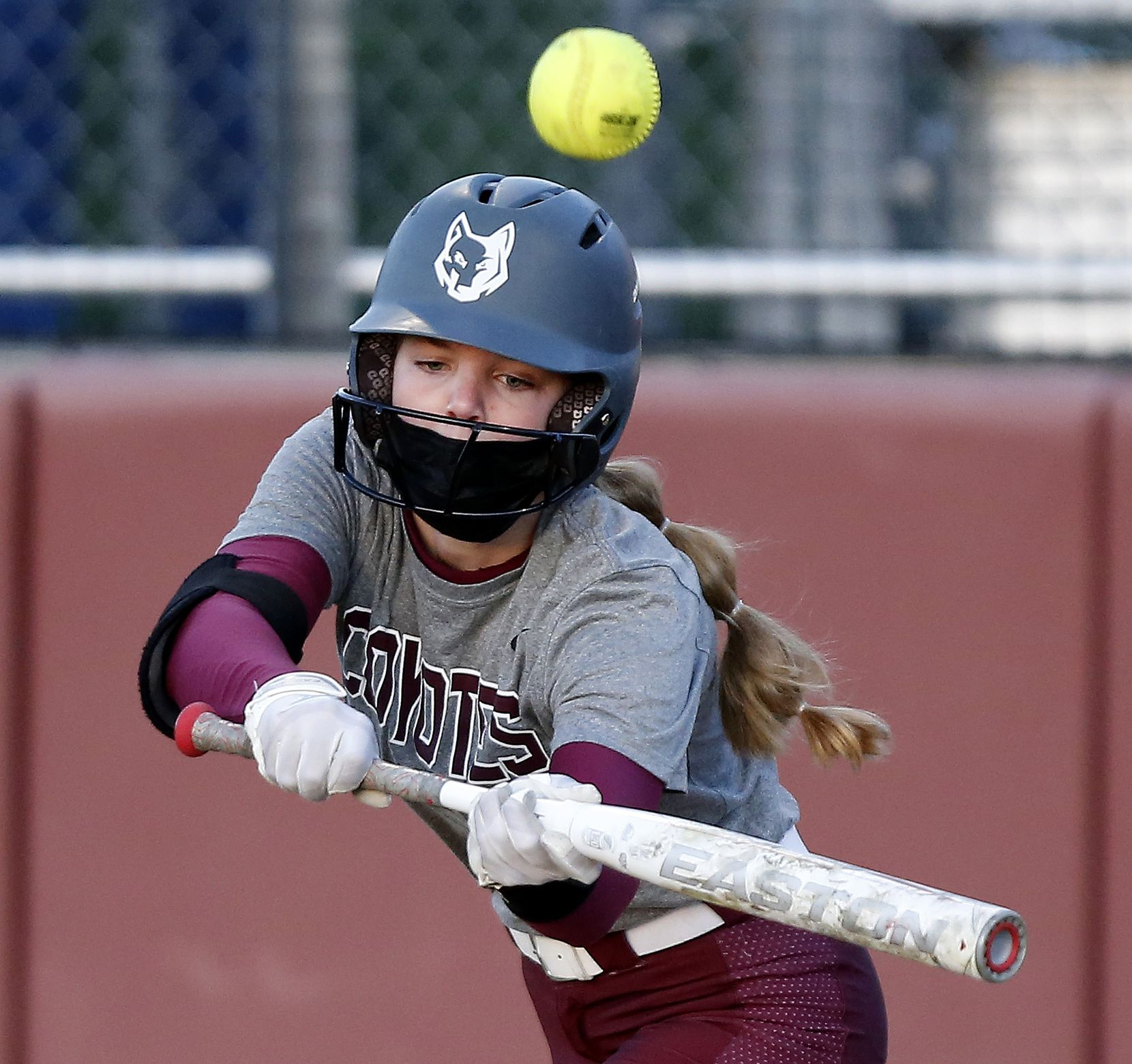 Heritage pitcher Jensin Hall (51) pops out on a bunt attempt in the second inning as Heritage High School hosted Memorial High School for the District 9-5A softball championship in Frisco on Tuesday, April 20, 2021. (Stewart F. House/Special Contributor)
