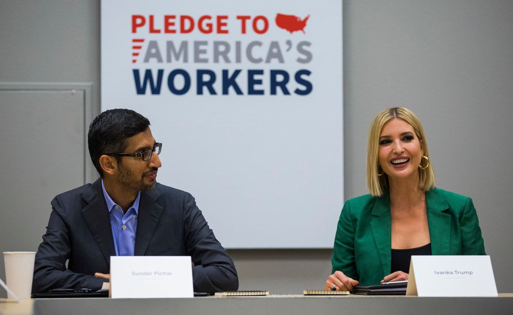 Google CEO Sundar Pichai and presidental adviser Ivanka Trump hosted a roundtable discussion with students and administrators involved with Google's online training program on Thursday at El Centro College.