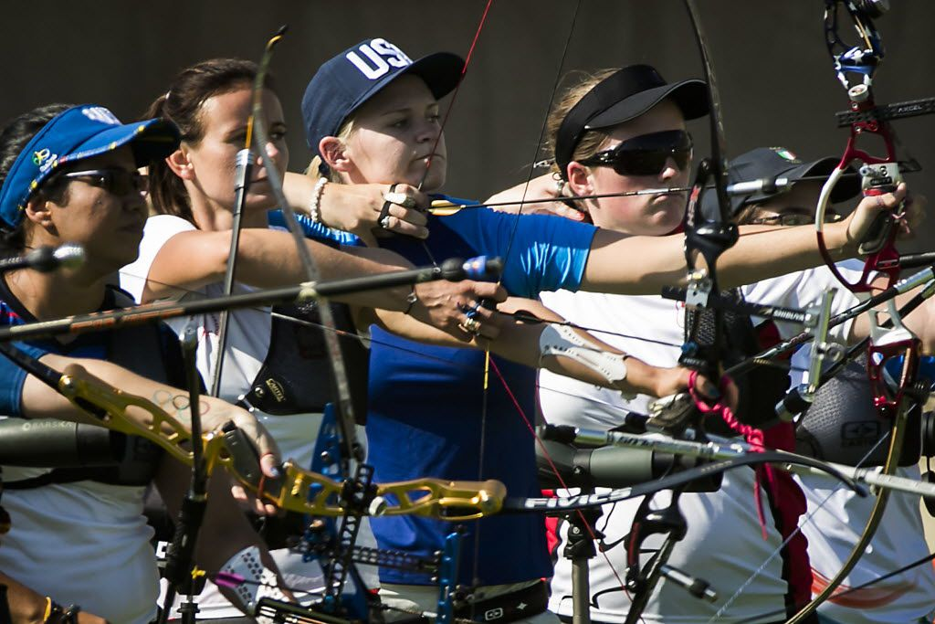 Archer Mackenzie Brown, from Flint, Texas (near Tyler) competes in the ranking round of women's archery in the Sambodromo at the Rio 2016 Olympic Games on Friday, Aug. 5, 2016, in Rio de Janeiro. (Smiley N. Pool/The Dallas Morning News)