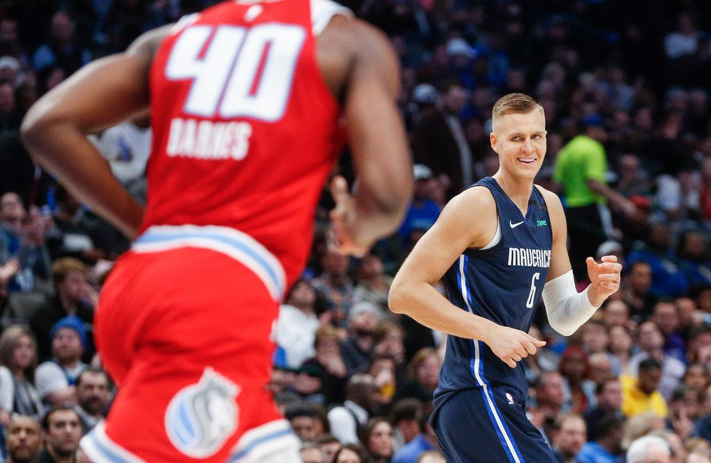 Dallas Mavericks forward Kristaps Porzingis (6) reacts after scoring during the second half of an NBA matchup between the Dallas Mavericks and the Sacramento Kings on Wednesday, Feb. 12, 2020 at American Airlines Center in Dallas.