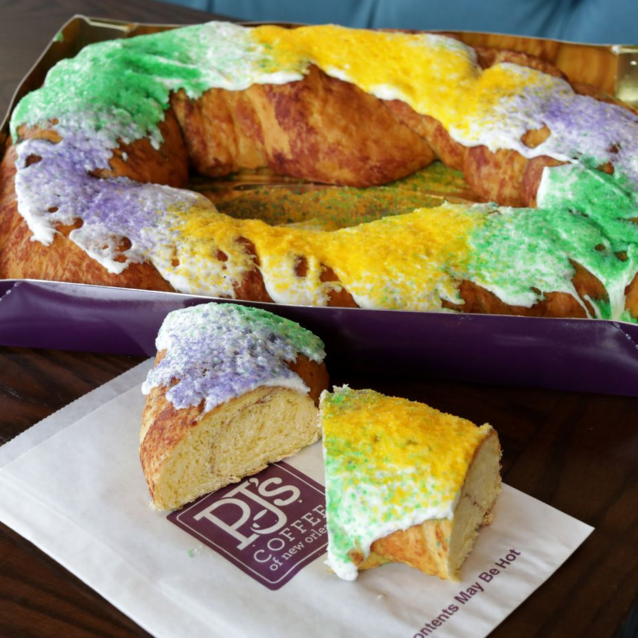 PJ's Coffee will soon start selling beignets. Shops are already selling slices of king cake, pictured here.