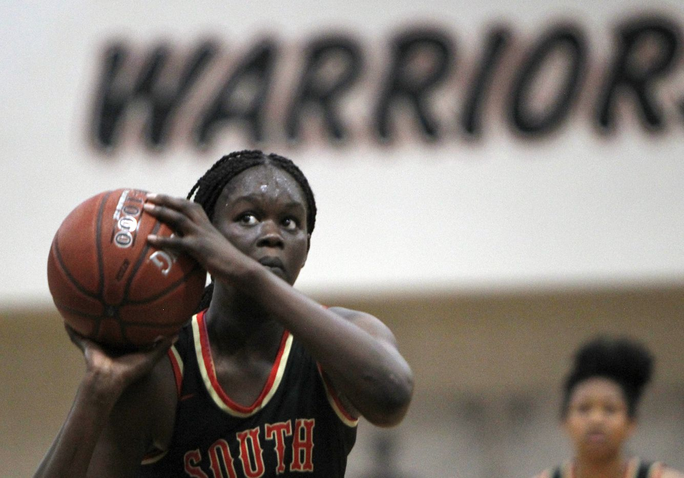 South Grand Prairie's Nxerro Maluw (5) eyes the basket before attempting a free throw during second half action against Arlington Martin. The two teams played their District 8-6A  girls varsity basketball game at Arlington Martin High School in Arlington on January 26, 2021. (Steve Hamm/ Special Contributor)