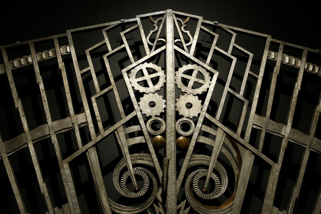 """The 'Chanin Building Gate'  by Rene Paul Chambellan in the """"Cult of the Machine: Precisianism and American Art"""" show by the Dallas Museum of Art"""