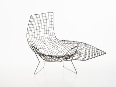 Harry Bertoia's ''Hand Made Chair Prototype' (Asymmetric Chaise Lounge), c. 1952, bronze brazed steel rods on chrome-plated steel base. From the collection of Wilbur and Joan Springer, Harry Bertoia 2021 Estate of Harry Bertoia / Artists Rights Society (ARS), New York