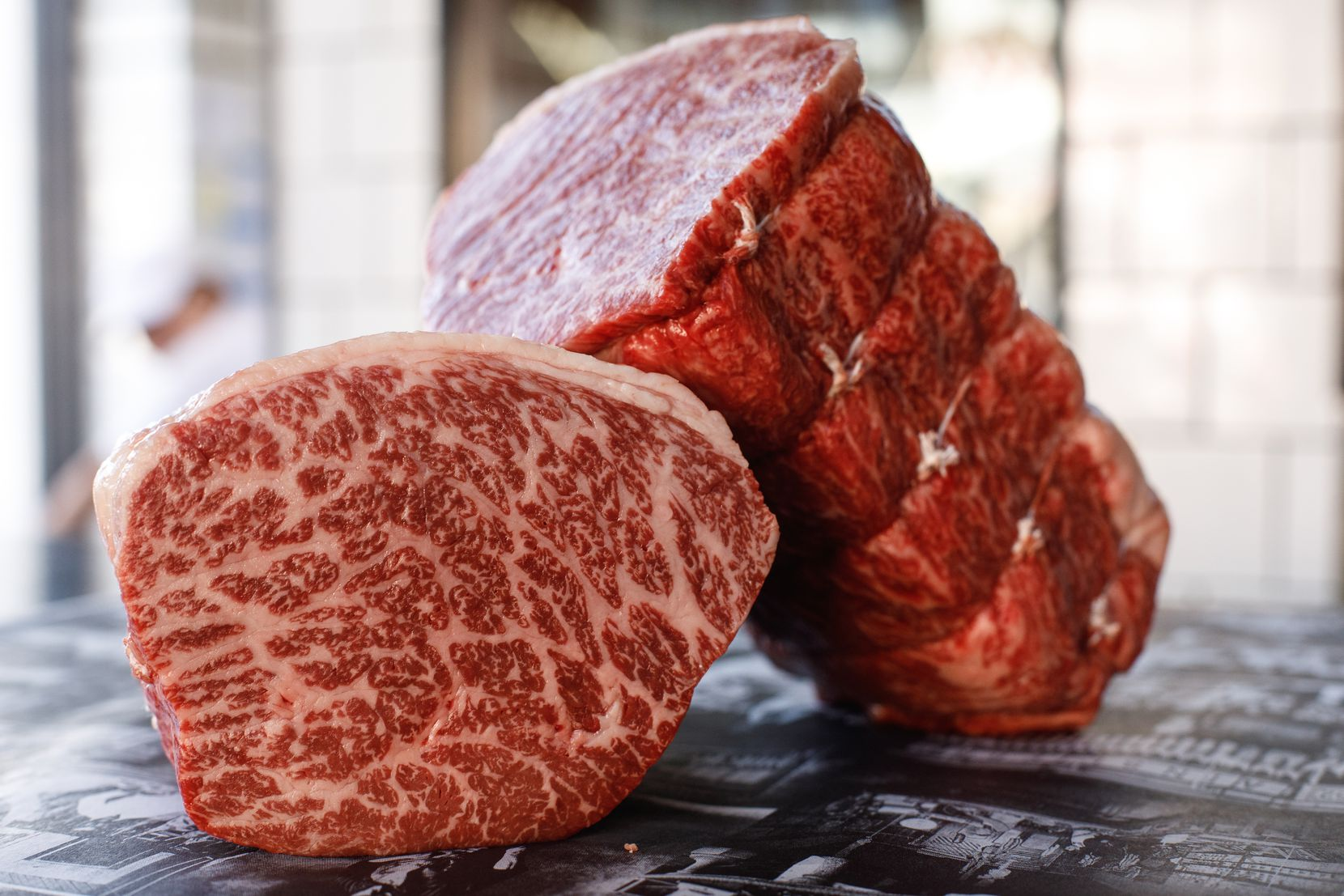 Australian Blackmore Wagyu beef roasts in the butcher shop at Gwen, Curtis Stone's restaurant in Los Angeles.