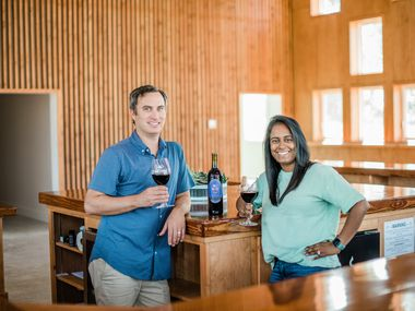 Greg and Nikhila Narra Davis debut their new Kalasi Cellars tasting room in Fredericksburg.