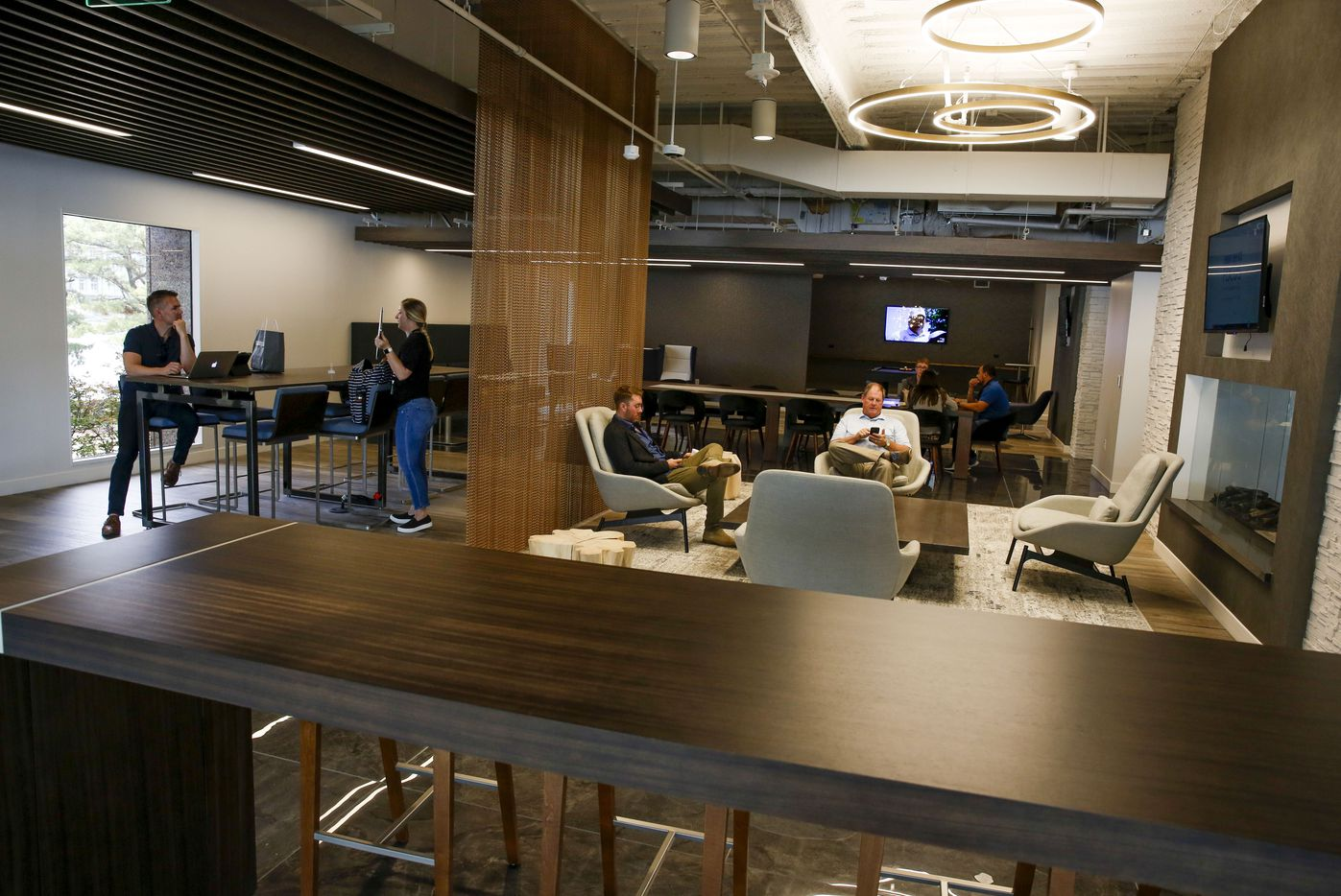 People can work, visit and eat lunch in the tenant lounge in The Towers at Williams Square.