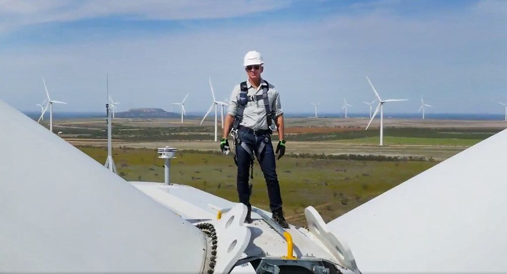 Amazon's Chief Executive Officer Jeff Bezos christened the new 253-megawatt Amazon Wind Farm Texas in Scurry County, Texas. This screen capture is from a video posted on his Twitter account.