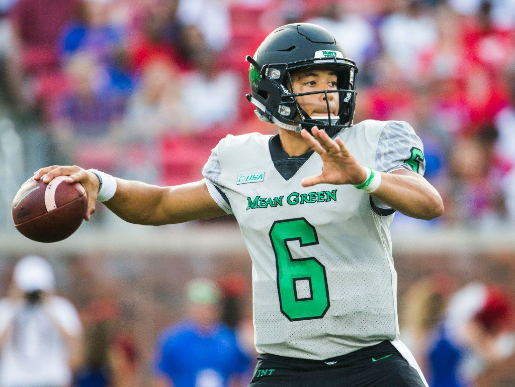 North Texas Mean Green quarterback Mason Fine (6) throws a pass during the second quarter of a football game between UNT and SMU on Saturday, September 9, 2017 at SMU's Ford Stadium in Dallas. (Ashley Landis/The Dallas Morning News)