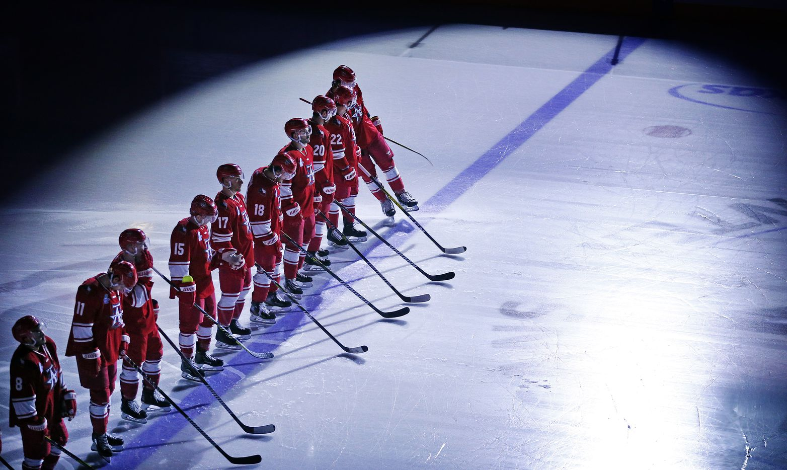 The Allen Americans hockey players are introduced to fans during their season opening game against Rapid City Rush at the Allen Event Center in Allen, Texas, Friday, December 18, 2020. This is the first professional hockey game in the metroplex since March. (Tom Fox/The Dallas Morning News)