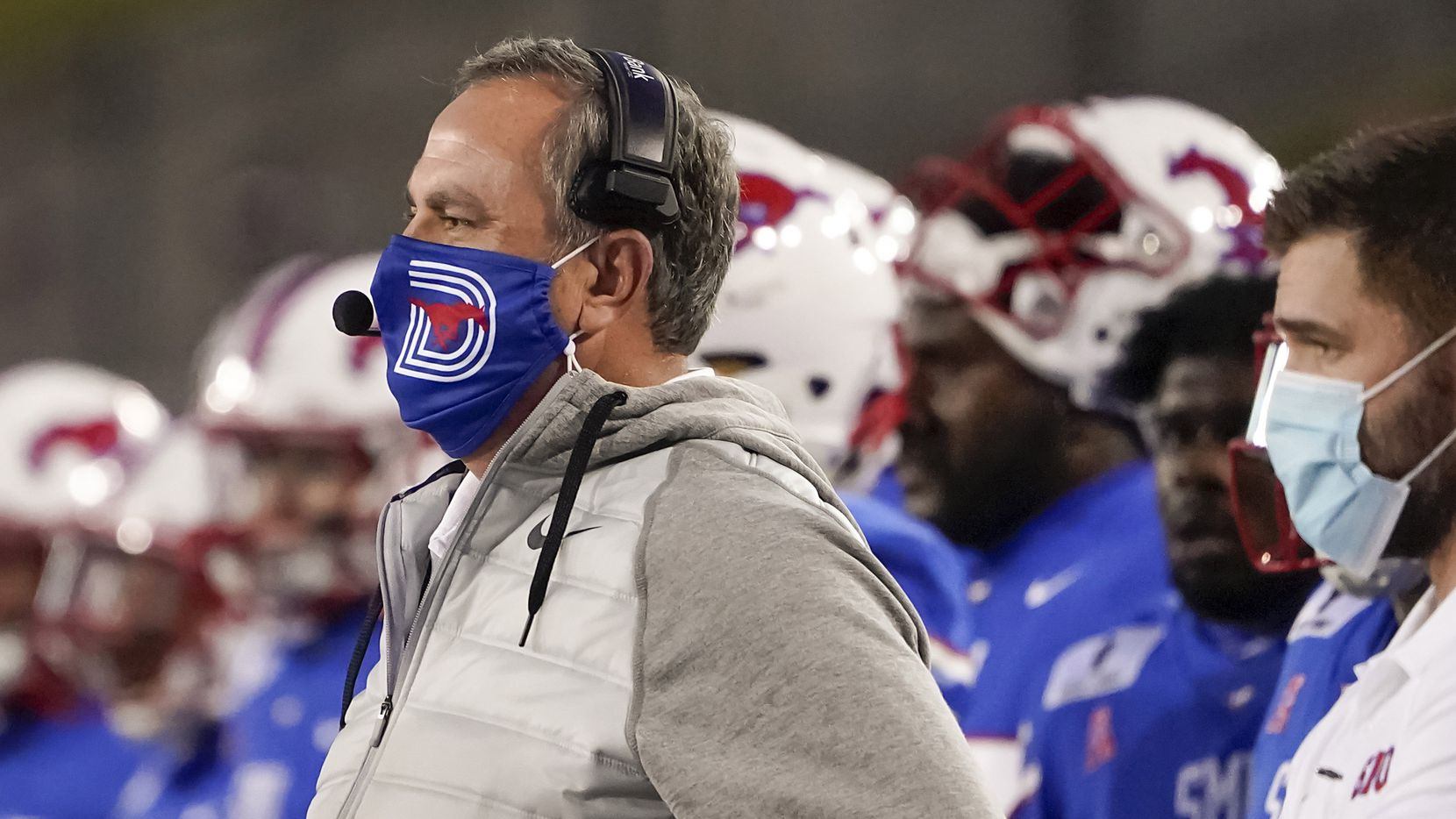 SMU head coach Sonny Dykes watches from the sidelines during the first quarter of an NCAA football game against Navy at Ford Stadium on Saturday, Oct. 31, 2020, in Dallas.