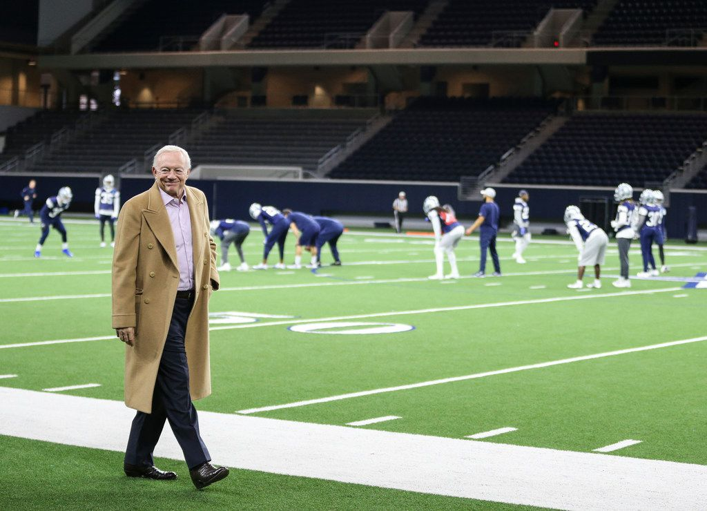 Cowboys owner Jerry Jones watches the team practice on Thursday, Jan. 3, 2019, at The Star in Frisco. (Ryan Michalesko/The Dallas Morning News)