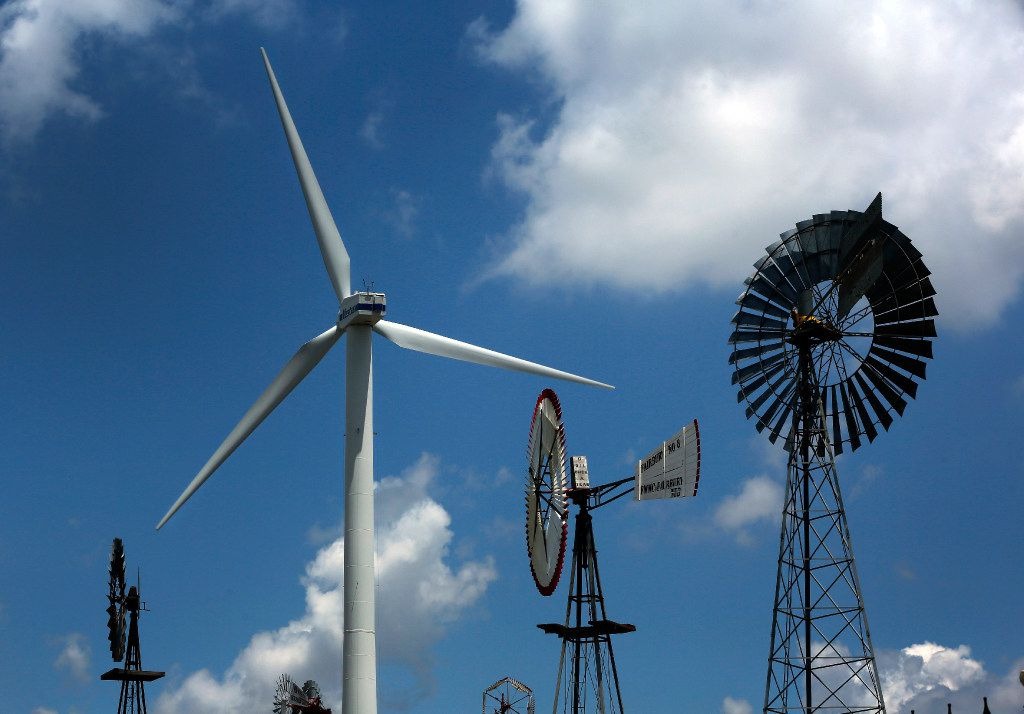 A large wind turbine is part of a collection of windmills at the American Wind Power Center in Lubbock on August 2, 2017.