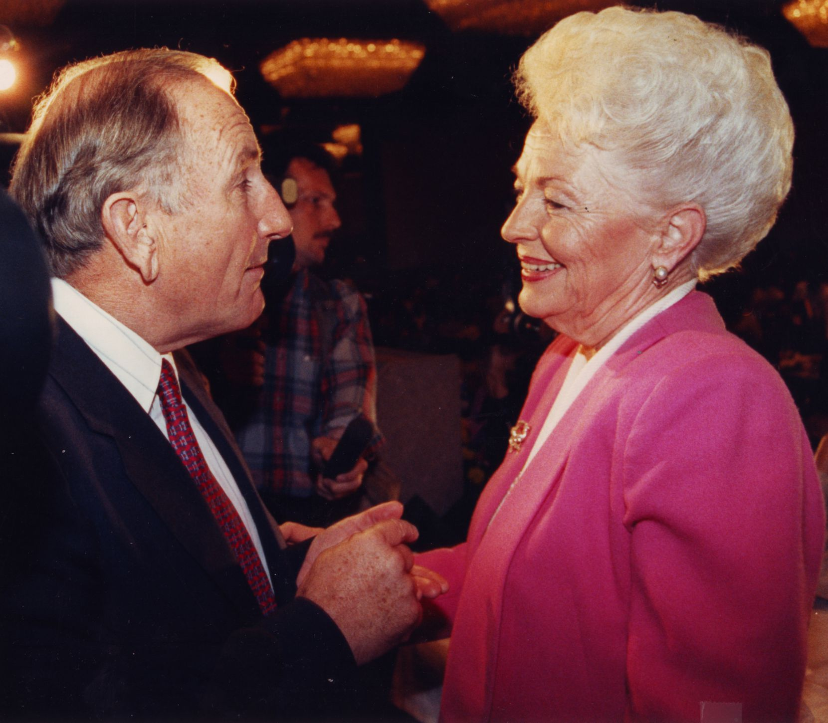Although things appeared to be amicable here, at one point in their 1990 battle for the Texas governor's seat, Republican Clayton Williams told Democrat Ann Richards that she was a liar and refused to shake her hand. Critical missteps cost Williams the race.