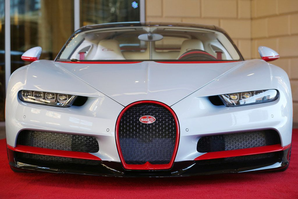 The exterior of a Bugatti Chiron during an event put on by Park Place commemorating the first delivery of a Bugatti Chiron to Texas at the Residences at The Stonleigh in Dallas Friday January 12, 2018. The Chiron is owned by Mayur Shree, who was gifted the car by his father, considers himself a gear-head. The car is capable of traveling over 260 miles per hour and has ten radiators, quad turbos and is valued at $3.2 million. (Andy Jacobsohn/The Dallas Morning News)