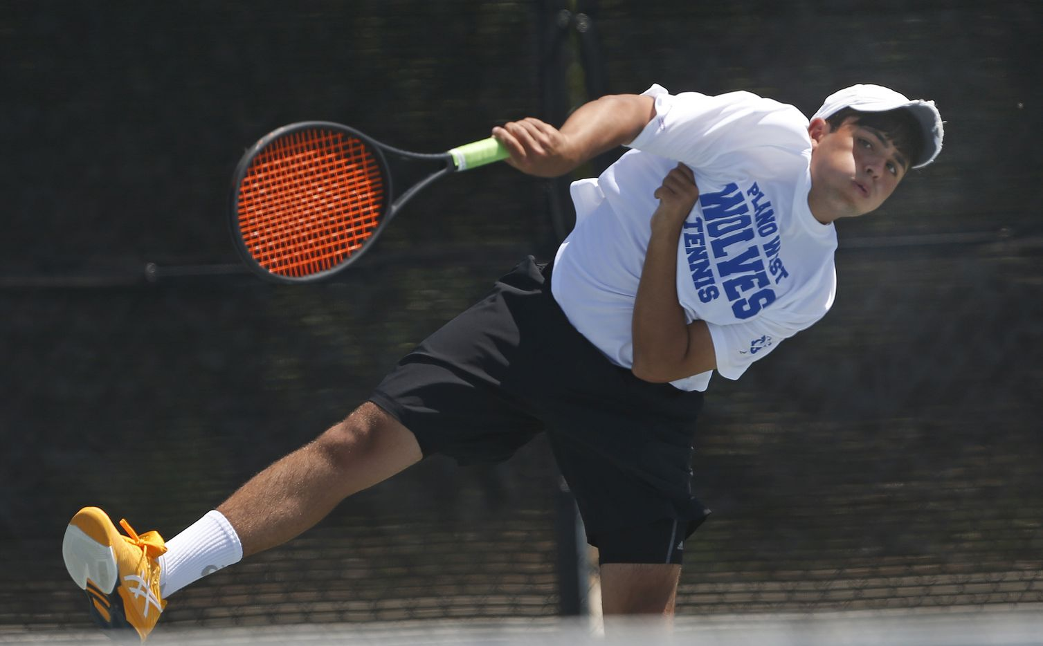 In a 6A boys doubles match, Plano West's Kishan Kersten makes a return. UIL state tennis semifinals at Northside ISD Tennis Center on Thursday, May 20, 2021.
