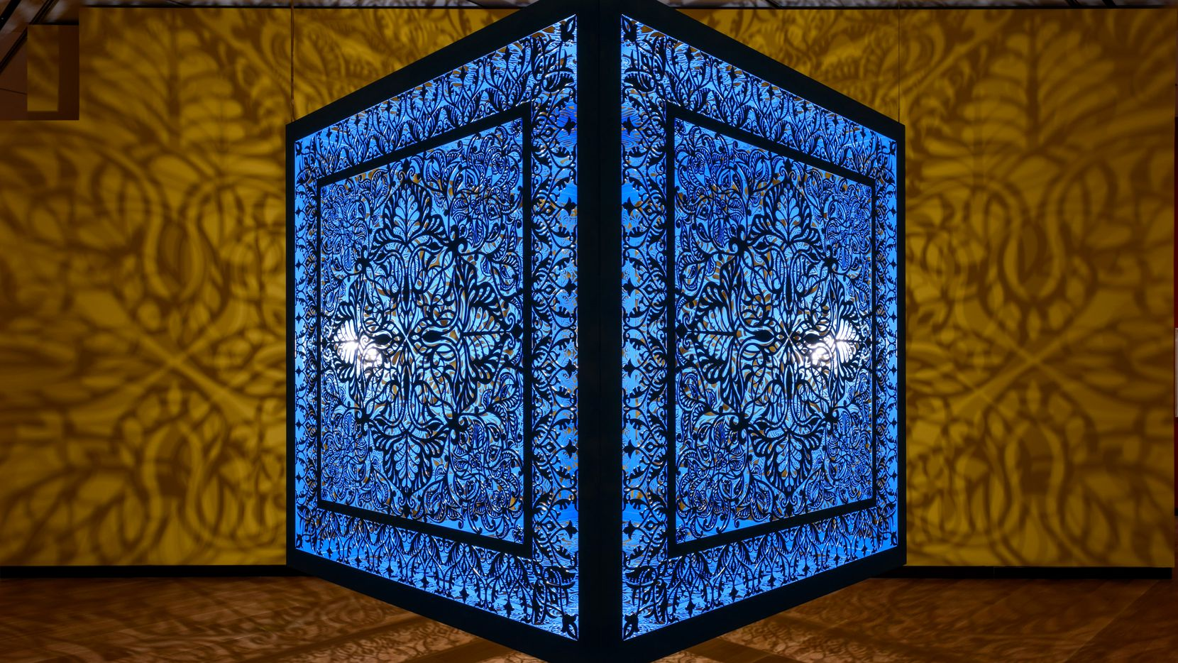 """'A Beautiful Despair (Cube),' 2021, laser cut, lacquered steel turquoise at the exhibition """"Anila Quayyum Agha: A Beautiful Despair"""" at the Amon Carter Museum of American Art through January 9, 2022."""