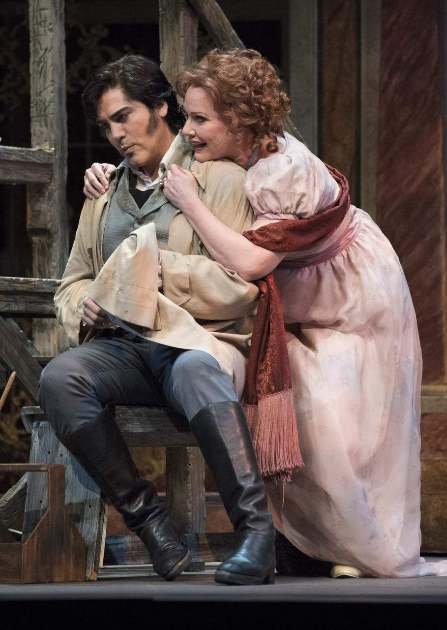Giancarlo Monsalve (Mario Cavaradossi) and Emily Magee (Floria Tosca) play lovers in Tosca, the classic Puccini opera now playing at the Winspear Opera House.