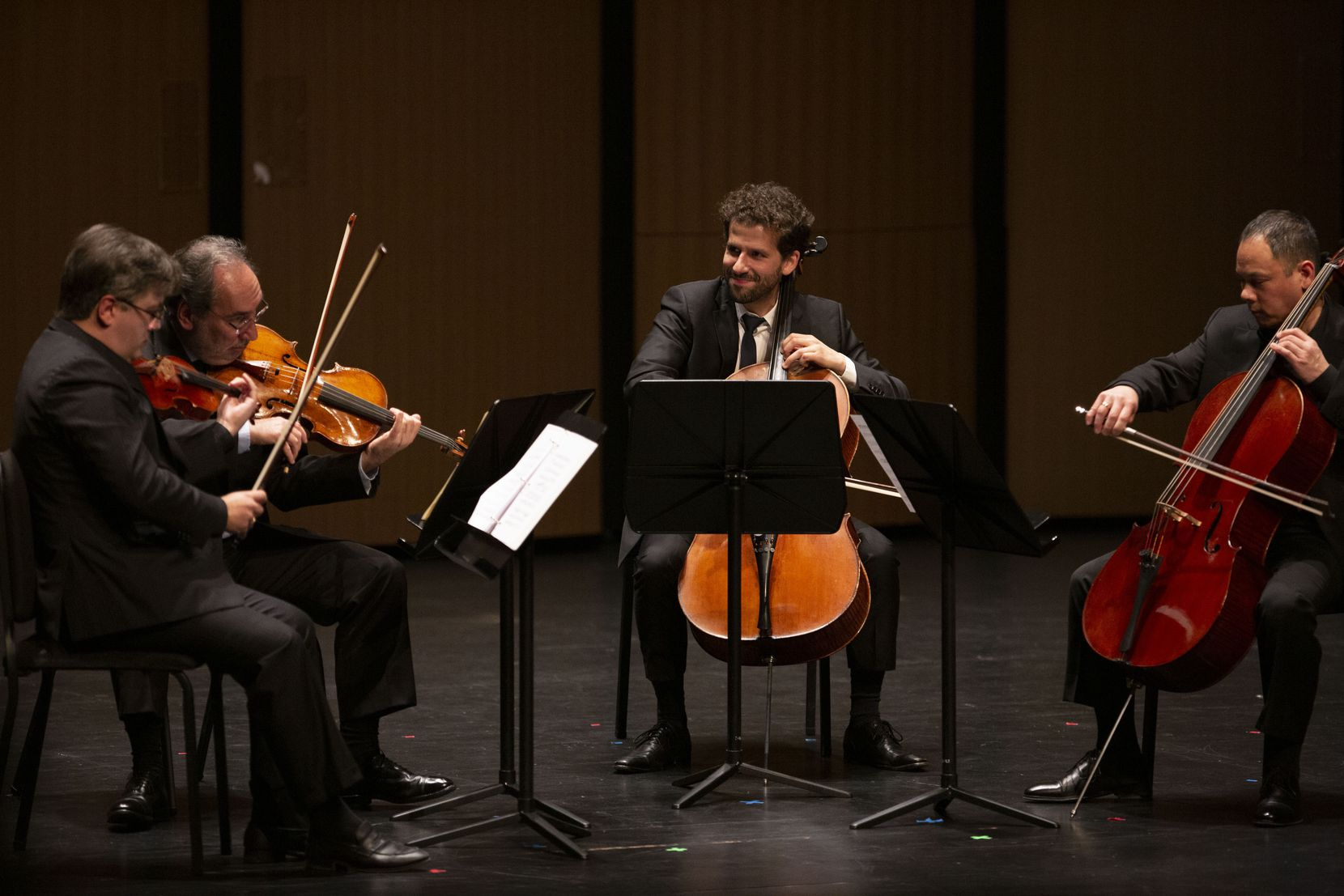 (From left) Violinist Aaron Boyd, violist Toby Hoffman and cellists Nick Canellakis and Bion Tsang perform together in a Chamber Music International concert at Moody Performance Hall in Dallas on Friday, Dec. 6, 2019.