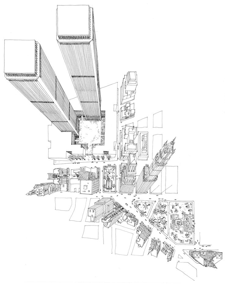 The late architectural illustrator Carlos Diniz called this drawing the Superman View of the World Trade Center Twin Towers.