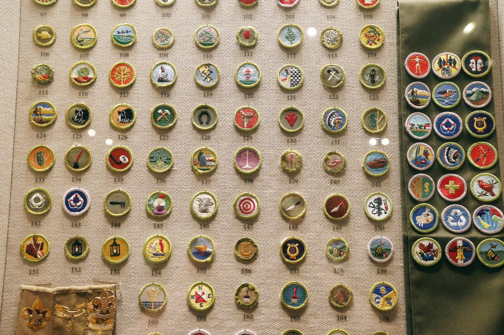 A display of 251 merit badges, some are no longer are given, there are only about 130 currently awarded, at the Boys Scouts of America National Scouting Museum in Irving. (Brandon Wade/Special Contributor)