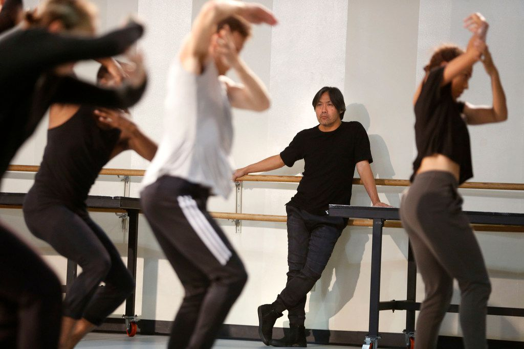 Takehiro Ueyama, a visiting artistic director/choreographer, watches as dancers from Dallas Black Dance Theatre's Encore! run through a practice from their Rising Excellence series at Dallas Black Dance Theatre in Dallas on Friday, October 20, 2017. (Vernon Bryant/The Dallas Morning News)