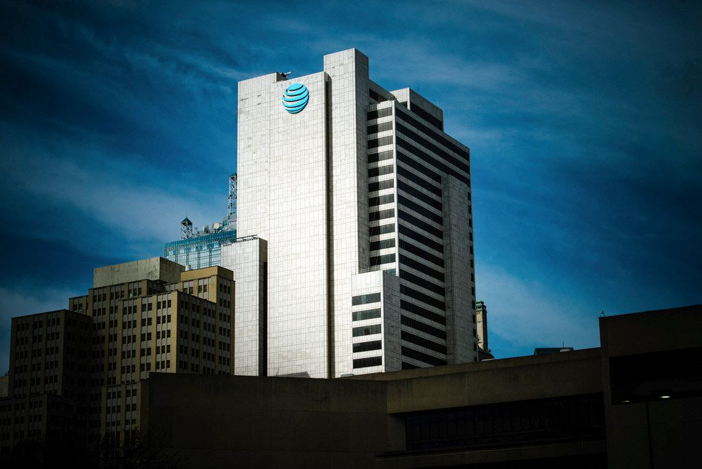 FILE -- The AT&T corporate headquarters building in downtown Dallas, Nov. 21, 2017. A federal judge blocked AT&T's ability to obtain communication logs between the Justice Department and the White House on Feb. 20, 2018, hampering the phone giant's argument that politics played a role in the government's decision to halt a merger with Time Warner. (Brandon Thibodeaux/The New York Times)