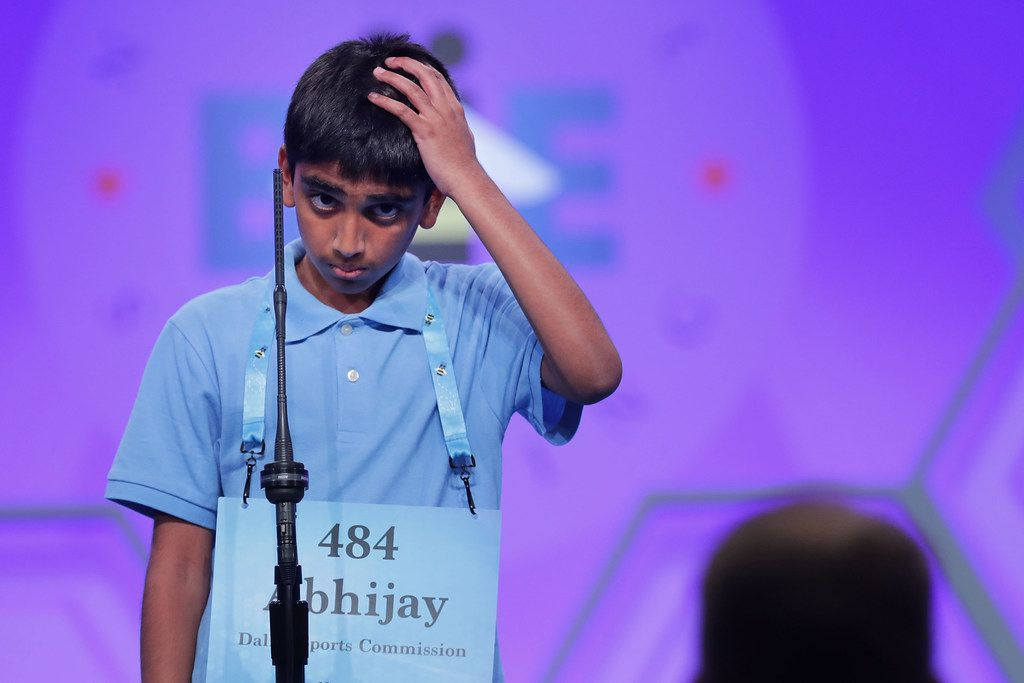 NATIONAL HARBOR, MD - MAY 31:  Abhijay Kodali successfully spells the word 'ceinture' during the final rounds of the 91st Scripps National Spelling Bee at the Gaylord National Resort and Convention Center May 31, 2018 in National Harbor, Maryland. Forty one finalists were selected to participate in the final day after a record 516 spellers were officially invited, up from 291 in 2017. (Photo by Chip Somodevilla/Getty Images)