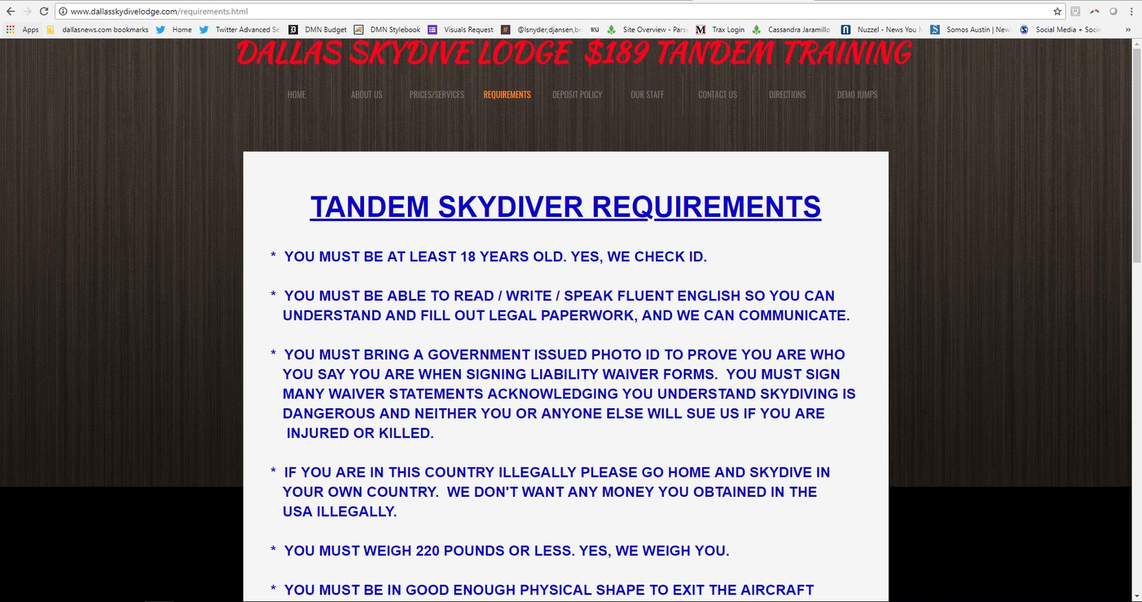 Screenshot of Skydive Tandem Greenville's rules on its website. The company is also referred to as Dallas Skydive Lodge.