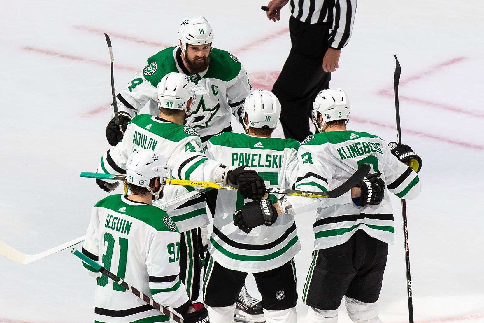Jamie Benn (14), Alexander Radulov (47), Tyler Seguin (91), Joe Pavelski (16) and John Klingberg (3) of the Dallas Stars celebrate Pavelski's goal against the Tampa Bay Lightning during Game Two of the Stanley Cup Final at Rogers Place in Edmonton, Alberta, Canada on Monday, September 21, 2020. (Codie McLachlan/Special Contributor)